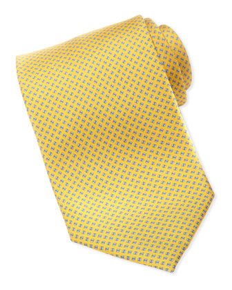 Printed Square-Neat Silk Tie, Yellow