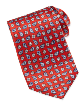 Dobby Pines Pattern Silk Tie, Red