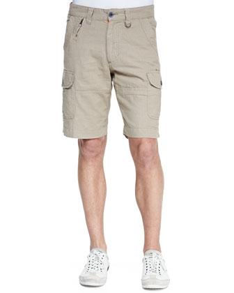Lemons Linen-Blend Cargo Shorts, Beige
