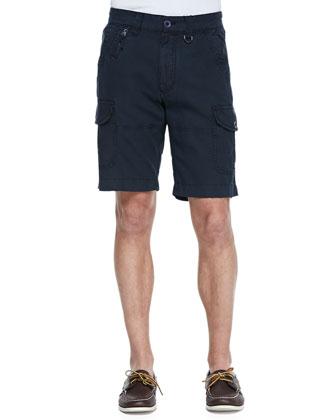 Lemons Linen-Blend Cargo Shorts, Navy
