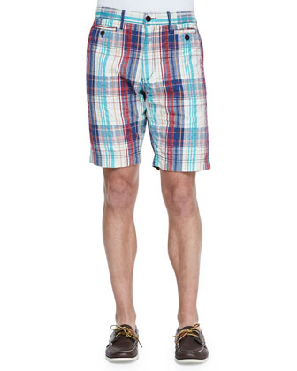 Carlson Plaid Shorts, Red Multi