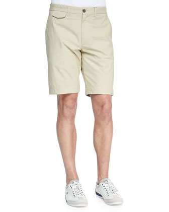 Hitchin Flat-Front Shorts, White