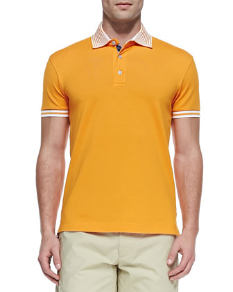 Axel Stripe-Collar Pique Polo, Orange