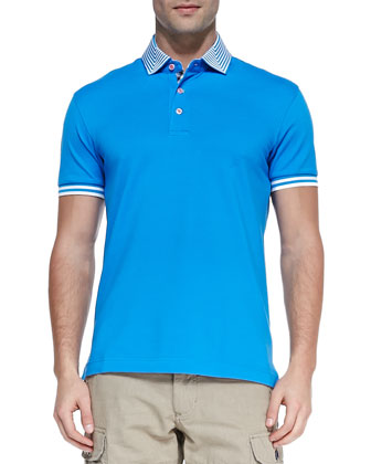Axel Stripe-Collar Pique Polo, Blue