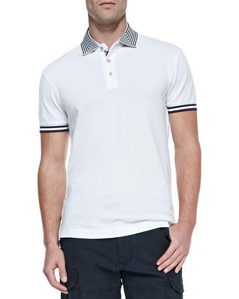 Axel Stripe-Collar Pique Polo, White