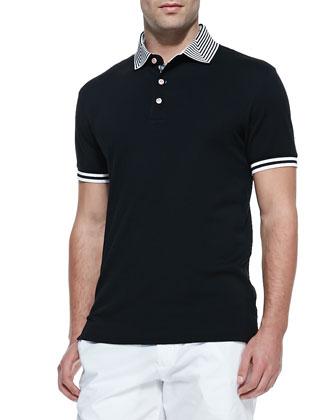 Axel Stripe-Collar Pique Polo, Black