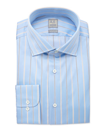 Herringbone Striped Dress Shirt, Tan/Blue