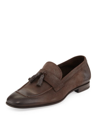 Brushed Leather Tassel Loafer, Brown