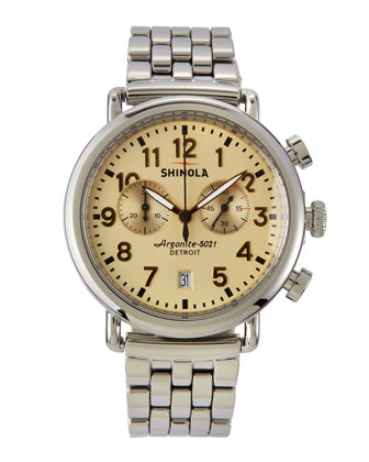 41mm Runwell Men's Chronograph Watch, Stainless Steel/Golden Dial