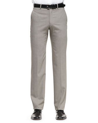 Solid Flat-Front Trousers, Tan