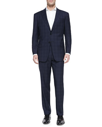 Shadow-Windowpane Two-Piece Suit, Navy