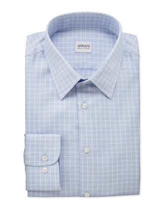 Box-Check Dress Shirt, White/Light Blue