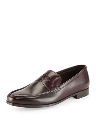 Stitched Leather Penny Loafer, Burgundy