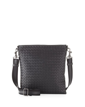 Men's Woven Zip-Top Messenger Bag, Nero Black