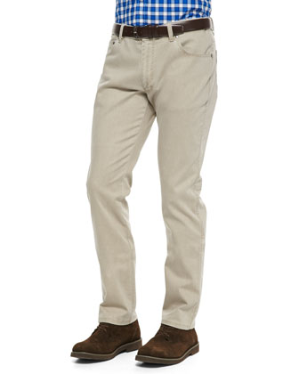 Two-Tone Stretch-Denim Jeans, Brown