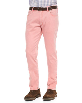 Two-Tone Stretch-Denim Jeans, Coral