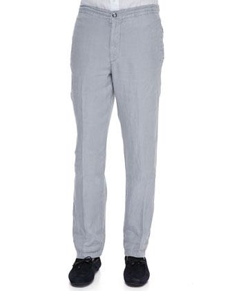 Linen Drawstring Pants, Silver