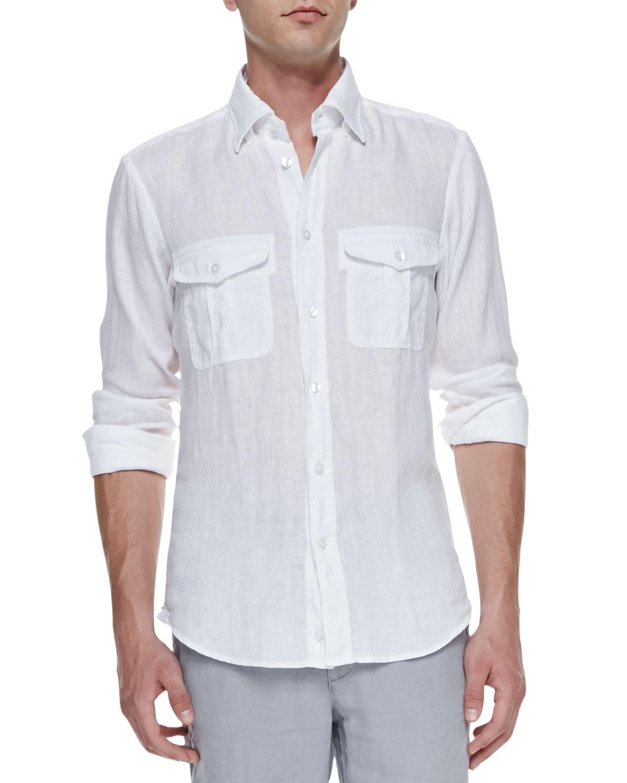 Mens Linen Long Sleeve Shirt, White   Ermenegildo Zegna   White (SMALL)