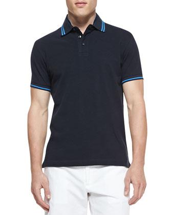 Tipped Pique Polo, Navy/Blue