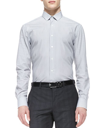 Striped Poplin Dress Shirt, Gray