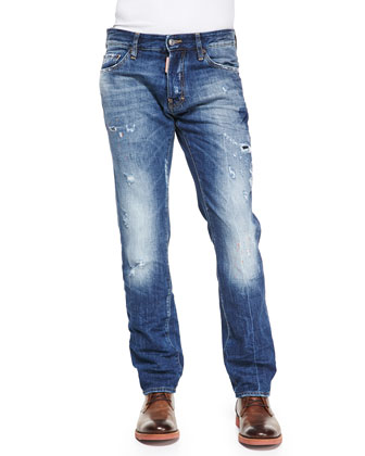 Dean Orange-Paint-Splatter Jeans, Blue