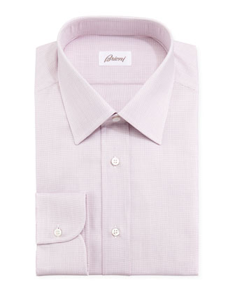 Tickweave Checked Dress Shirt, Pink