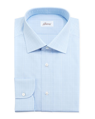 Tonal Plaid Dress Shirt, Light Blue