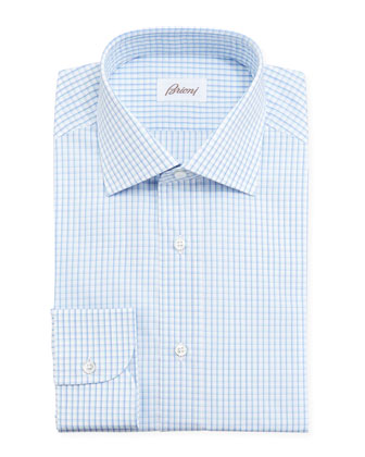 Checked Dress Shirt, Blue/Aqua