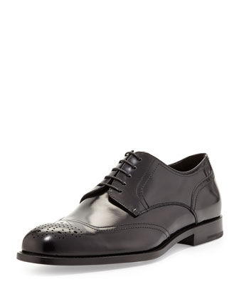 Medallion-Toe Derby Shoe, Black