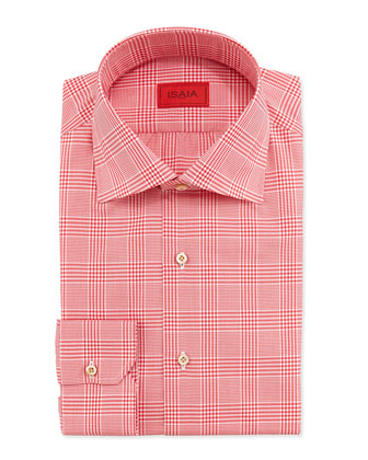 Glen Plaid Dress Shirt, Red
