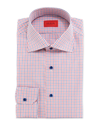 Mini-Check Print Dress Shirt, Blue/Red