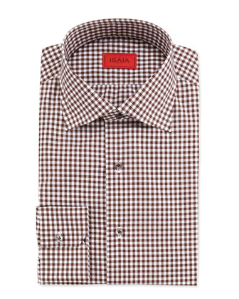 Gingham Check Dress Shirt, Brown
