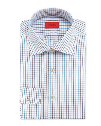 Graph Check Dress Shirt, Aqua/Navy/Brown