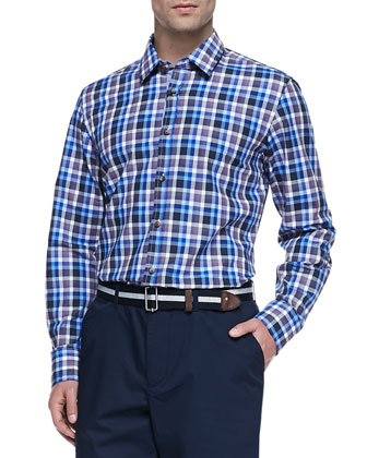 Check Twill Button-Down Shirt, Blue