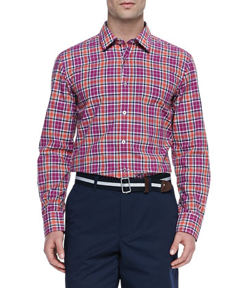 Woven Check Button-Down Shirt, Red