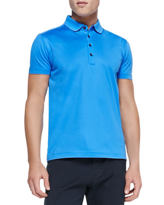 Mercerized Knit Polo, Bright Blue