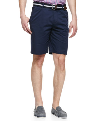 Stretch-Gabardine Shorts, Navy