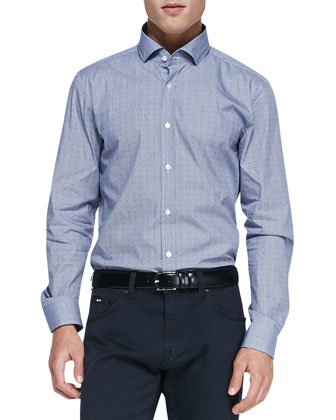 Dot-Print Button-Down Shirt, Navy