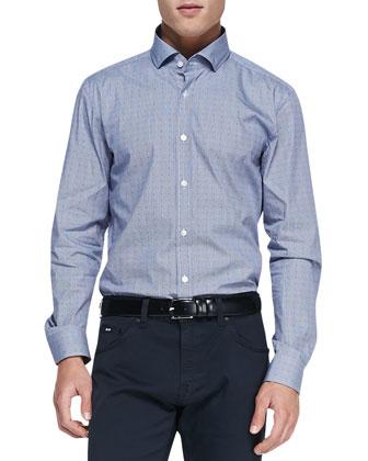Dot-Print Button-Down Shirt, Navy