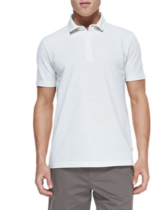 Flame Pique Polo Shirt, White