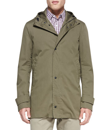 Coated Canvas Jacket, Olive