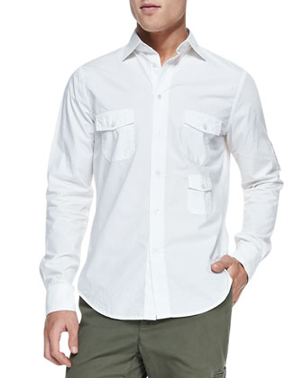 3-Pocket Woven Shirt, White