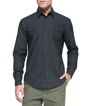 Patch-Pocket Woven Shirt, Charcoal