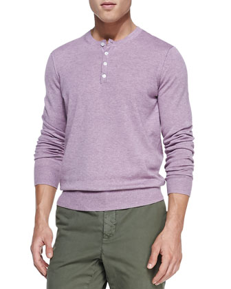 Heather-Knit Henley, Lavender