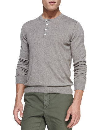 Heather-Knit Henley, Almond