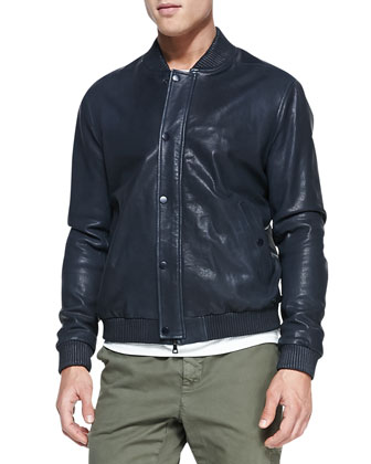 Leather Bomber Jacket, Dark Navy
