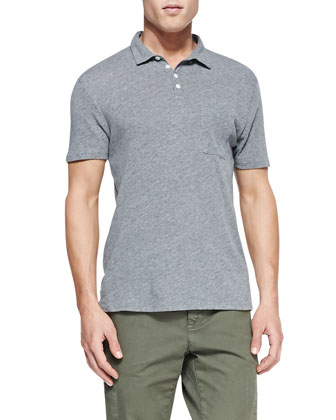 Heathered Knit Polo, Gray