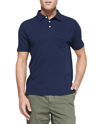 Heathered Knit Polo, Indigo