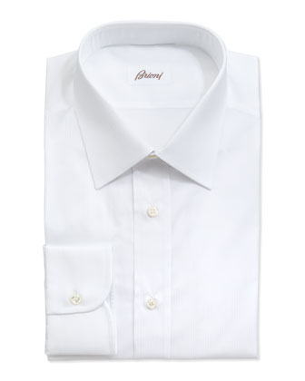 Tonal Shadow-Striped Dress Shirt, White