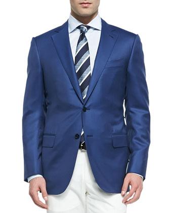 Twill Wool-Silk Blazer, Blue